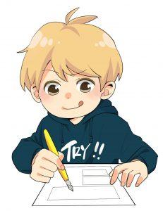 漫画を書いている少年