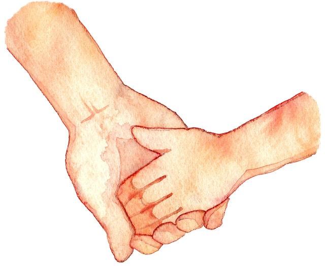 手を繋いだ水彩画